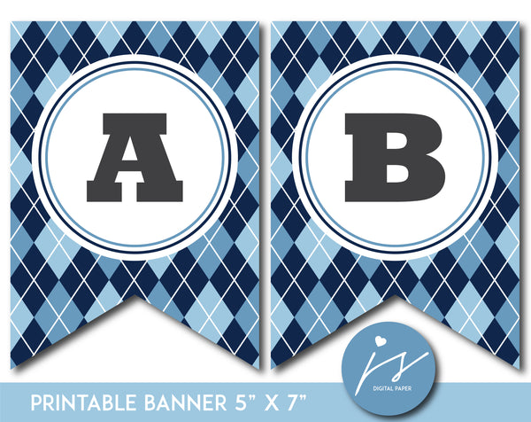 Blue printable banner with argyle pattern design, PB-664