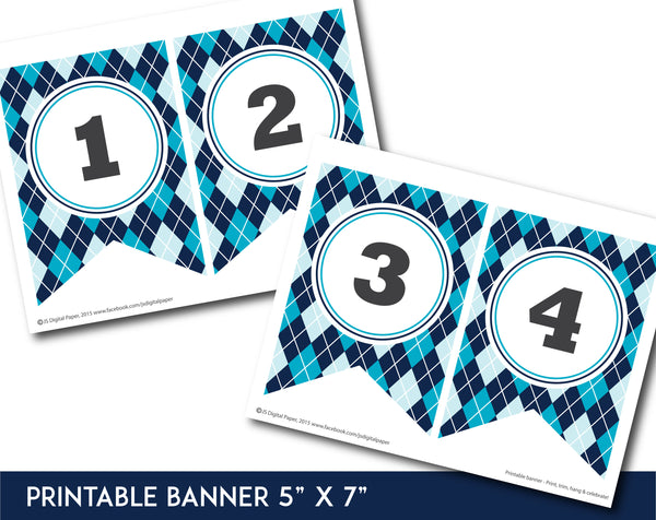 Navy blue and turquoise printable banner with argyle pattern design, PB-665