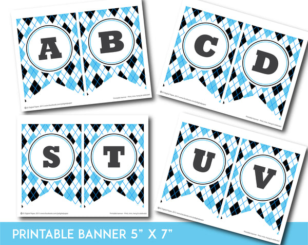 Blue and black printable banner with argyle pattern design, PB-669