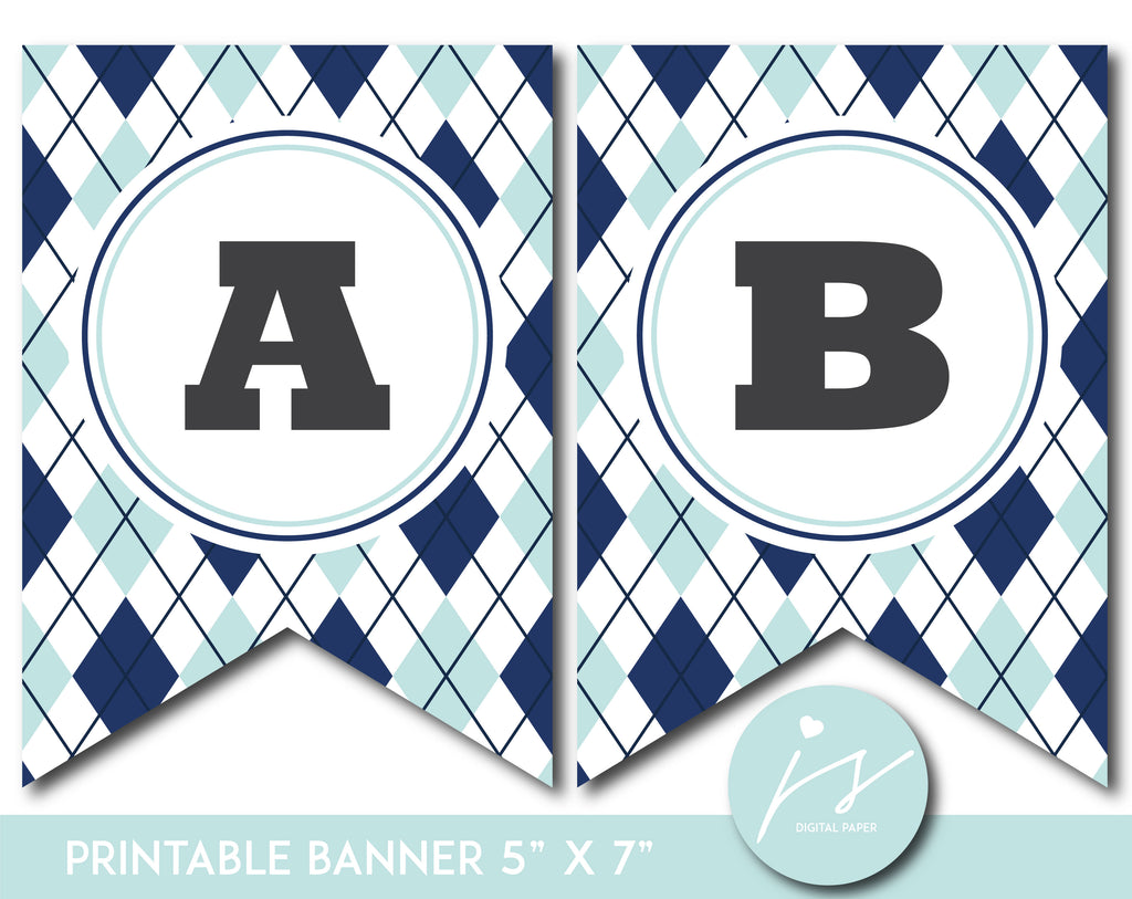 Mint and blue printable banner with argyle pattern design, PB-672