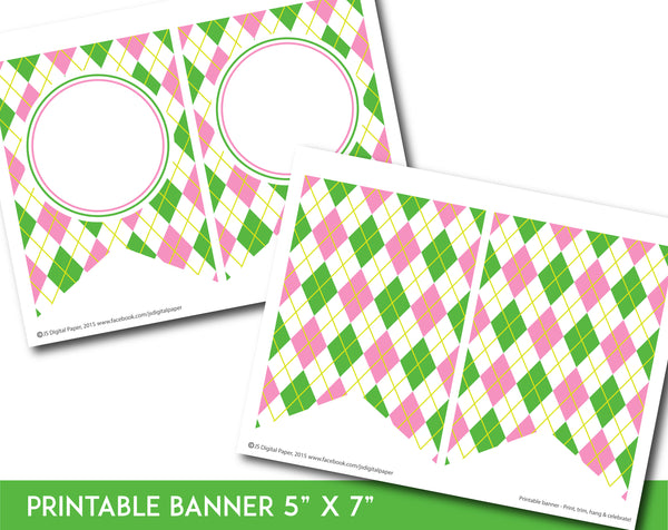 Pink and green printable banner with argyle pattern design, PB-673