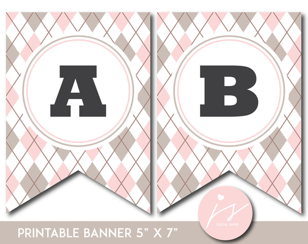 Light pink and brown printable banner with argyle pattern design, PB-674