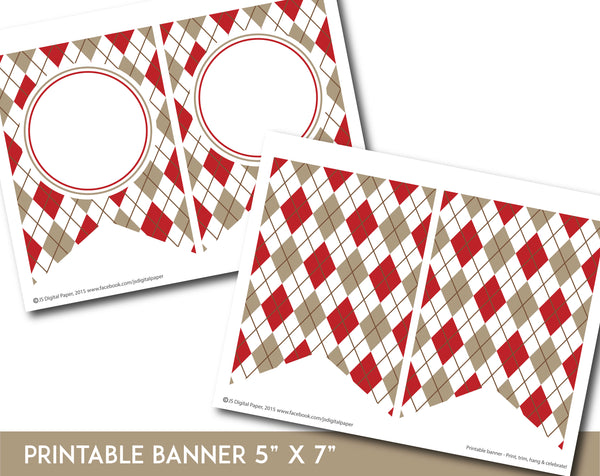 Red and brown printable banner with argyle pattern design, PB-681
