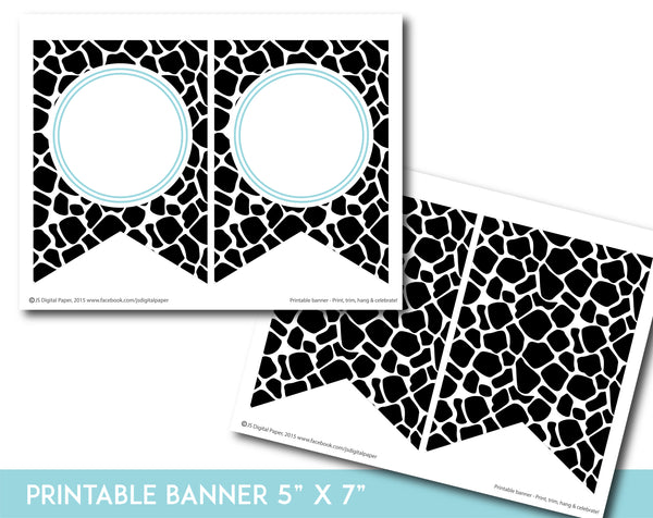 Light turquoise and black printable safari bunting banner with letters and numbers, PB-683