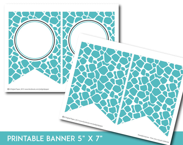 Turquoise and black printable safari bunting banner with letters and numbers, PB-684