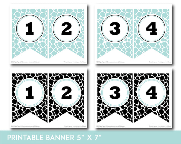 Mint and black printable safari bunting banner with letters and numbers, PB-685