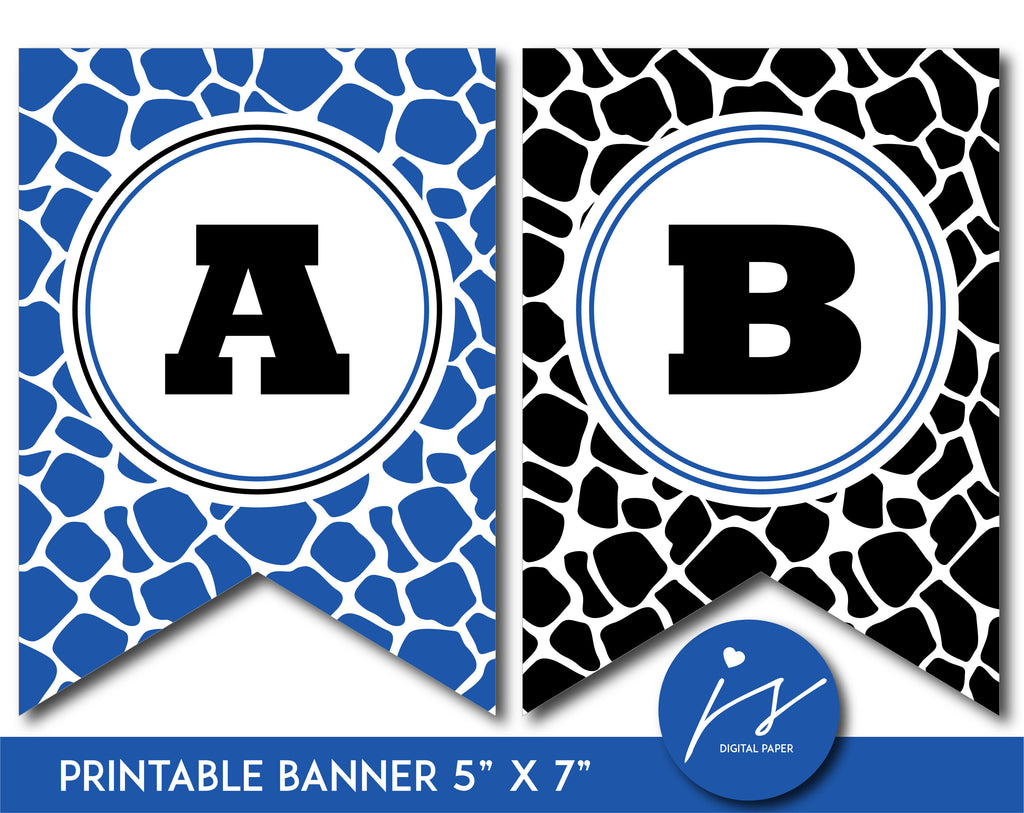 Royal blue and black printable safari bunting banner with letters and numbers, PB-686