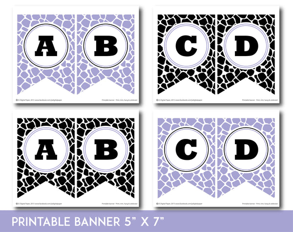 Lavender and black printable safari bunting banner with letters and numbers, PB-688
