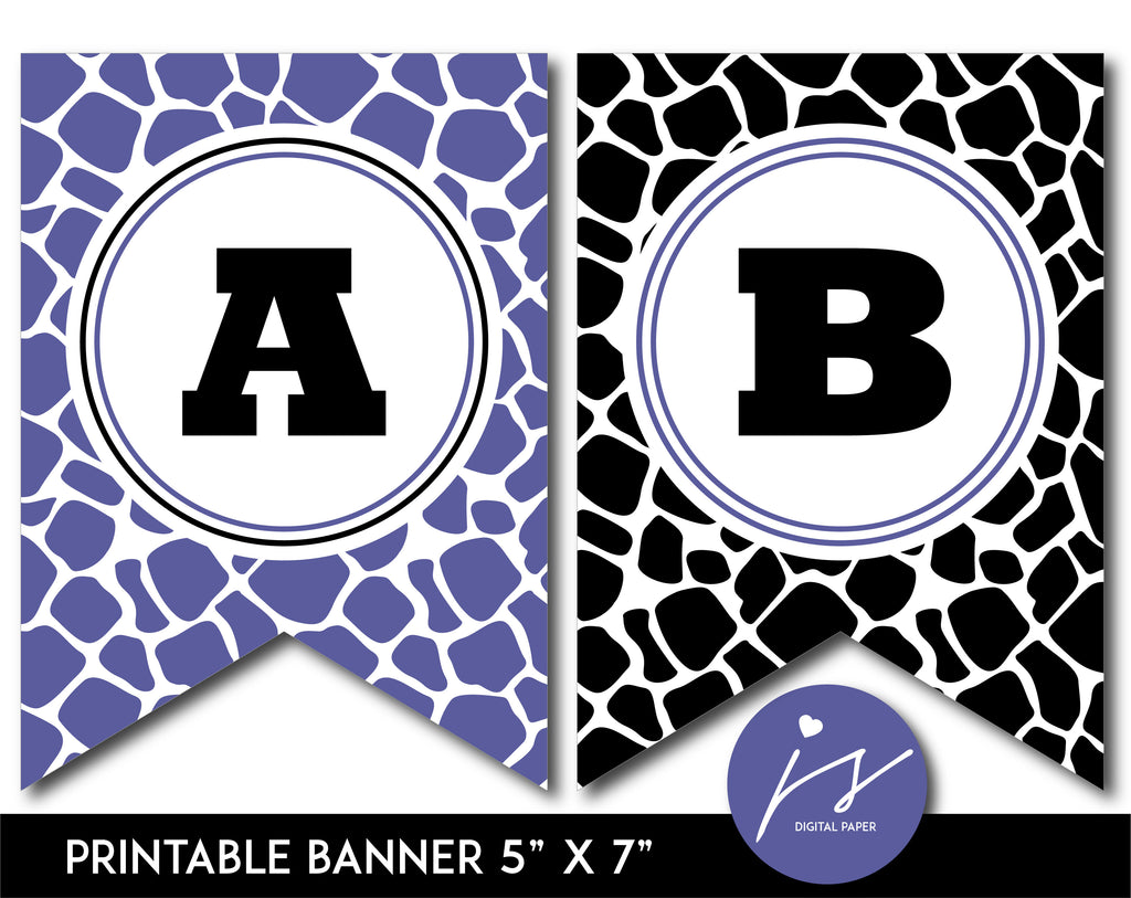 Purple and black printable safari bunting banner with letters and numbers, PB-689