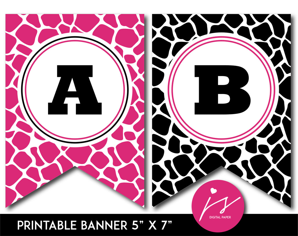 Hot pink and black printable safari bunting banner with letters and numbers, PB-690