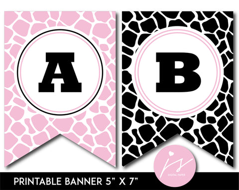 Baby pink and black printable safari bunting banner with letters and numbers, PB-691