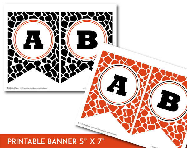 Orange and black printable safari bunting banner with letters and numbers, PB-692