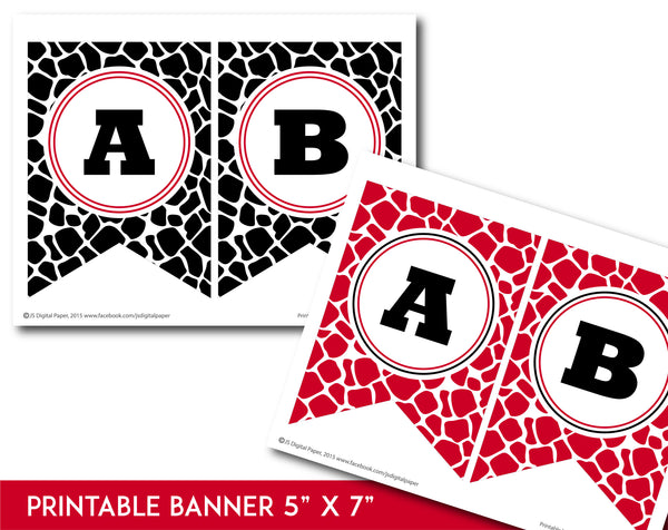 Red and black printable safari bunting banner with letters and numbers, PB-693