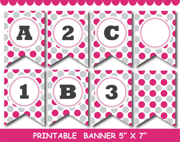 Hot pink and grey printable banner with stars, stripes and polka dots, PB-721