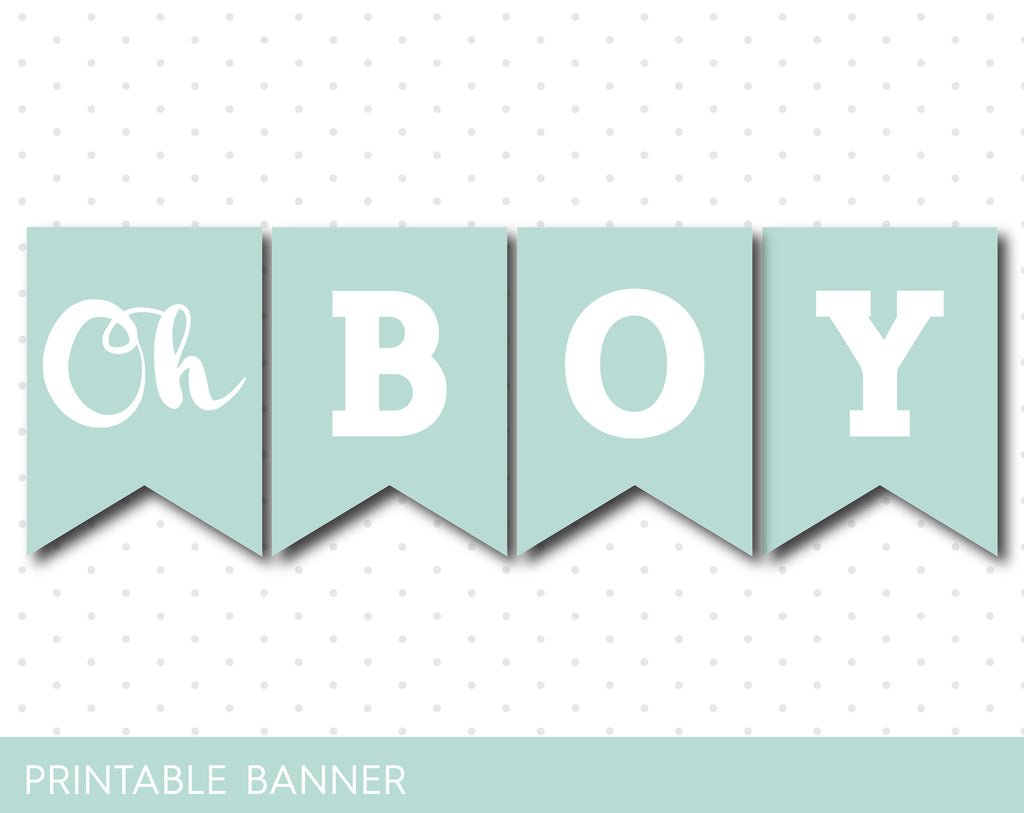 light mint baby shower banner with letters and numbers elephant