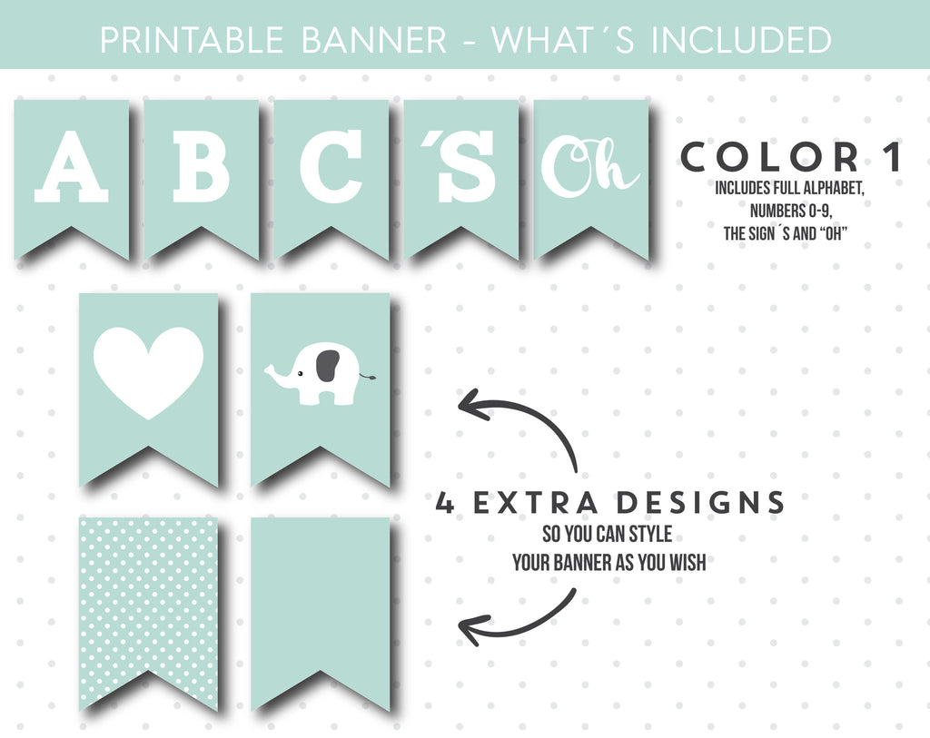 Light mint baby shower banner with letters and numbers, Elephant ...