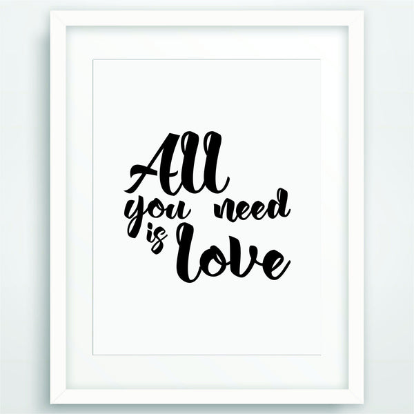 All you need is love, Motivational Poster Print, Quote in Black and White, Inspirational Typography, Scandinavian Printable Wall Art, PO-43