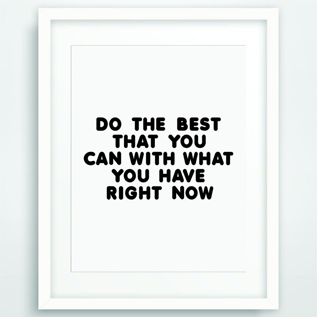 Do the Best That You Can, Motivational Poster Print, Quote in Black and White, Inspirational Typography, Scandinavian Printable Wall Art, PO-59