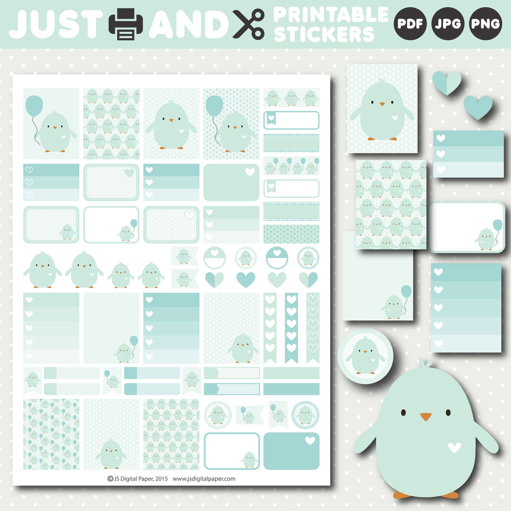 Mint printable stickers with cute bird design, STI-1024