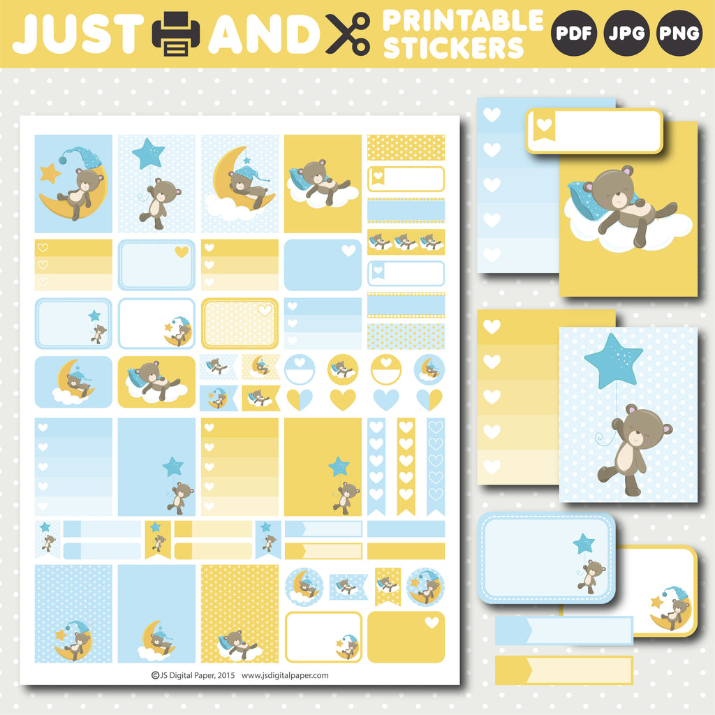 Sleeping teddy bear planner stickers, Weekly teddy stickers, STI-1035