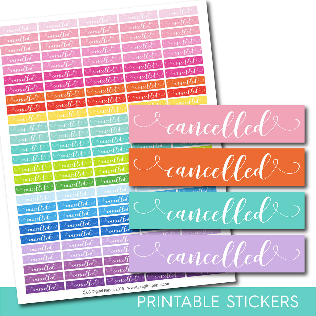 Cancelled planner stickers, Cancelled word stickers, Hand drawn stickers, STI-1052