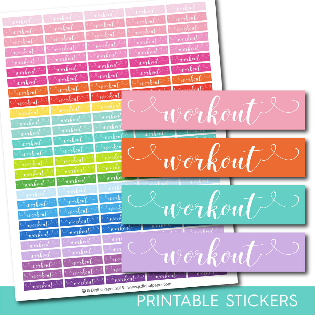 Workout planner stickers, Workout word stickers, Hand drawn stickers, STI-1069