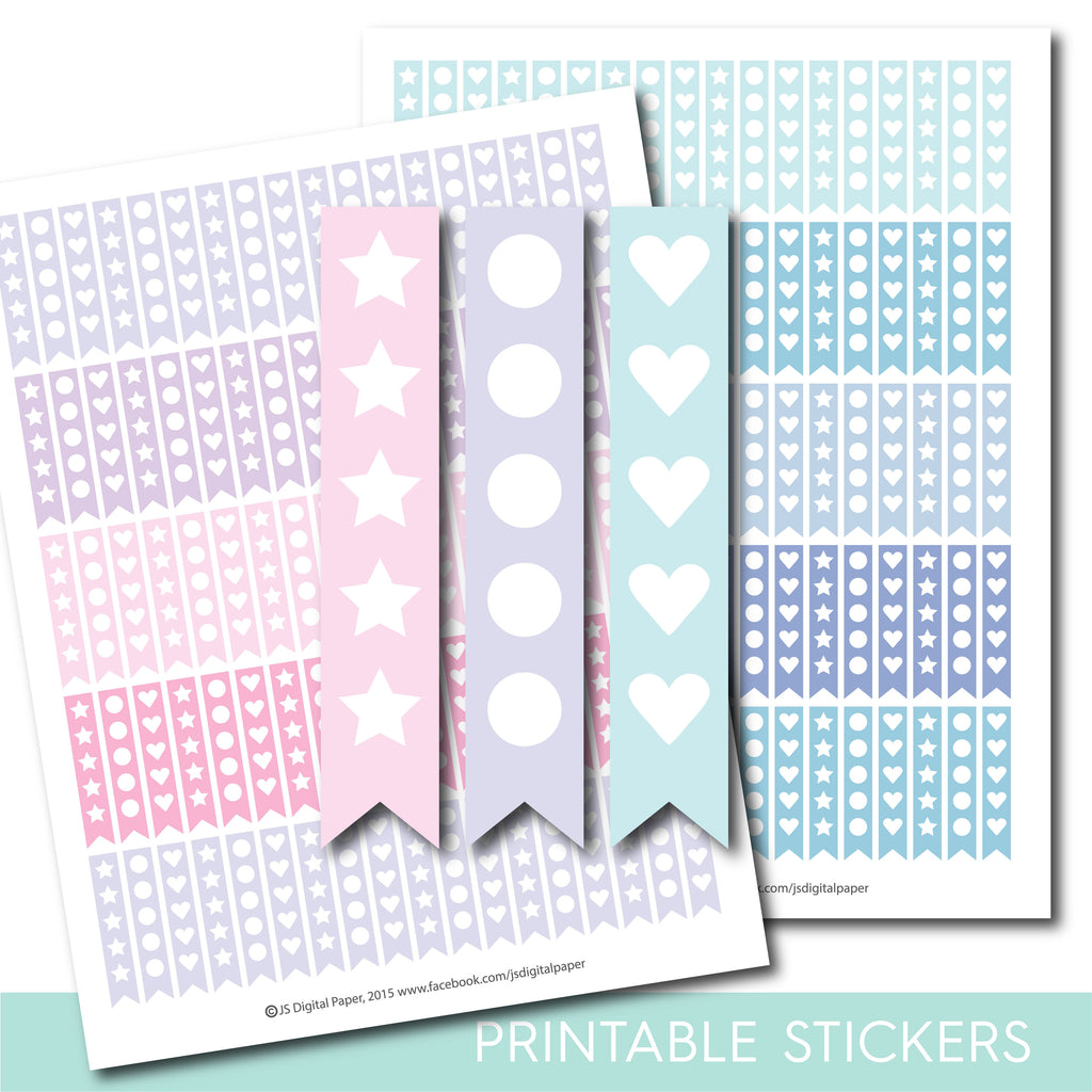 Heart checklist stickers, Round and star checklist stickers, STI-1083