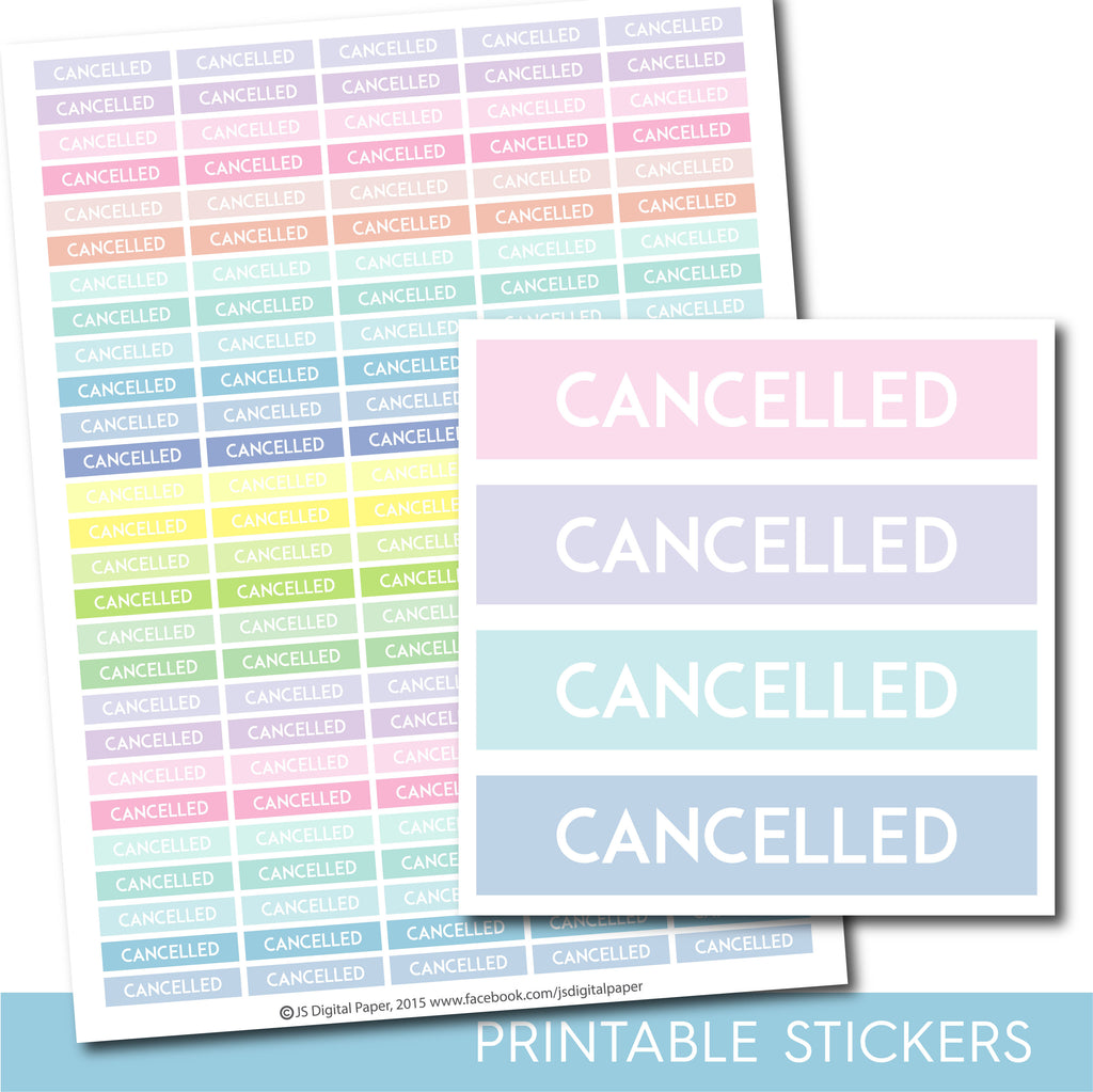 Printable Cancelled stickers in pastel colors, Cancelled header stickers, STI-1085