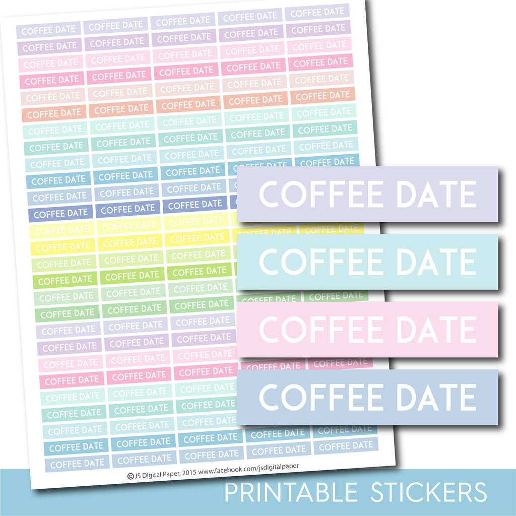 Printable Coffee header stickers, Pastel Coffee stickers, STI-1108