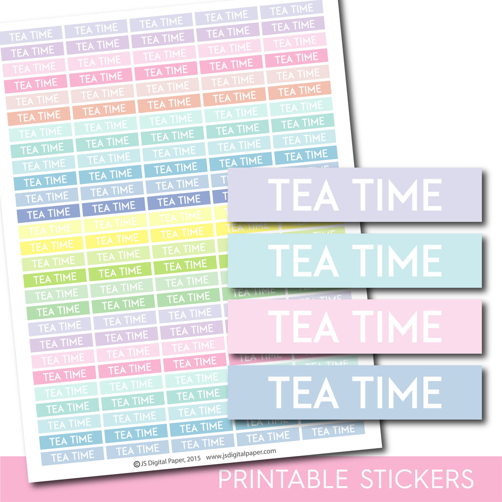 Printable Tea header stickers, Pastel Tea stickers, STI-1109