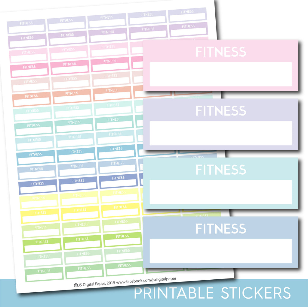 Printable Fitness header stickers, Pastel Fitness stickers, STI-1133