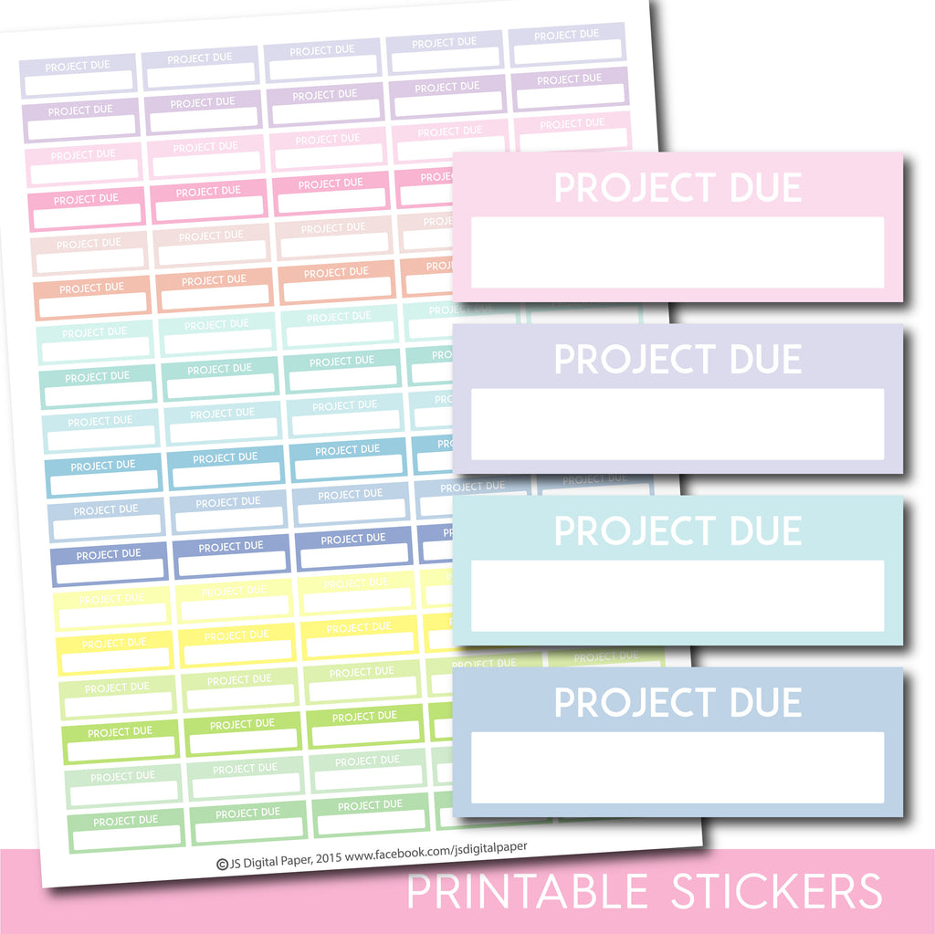 Printable Project header stickers, Pastel Project stickers, STI-1134