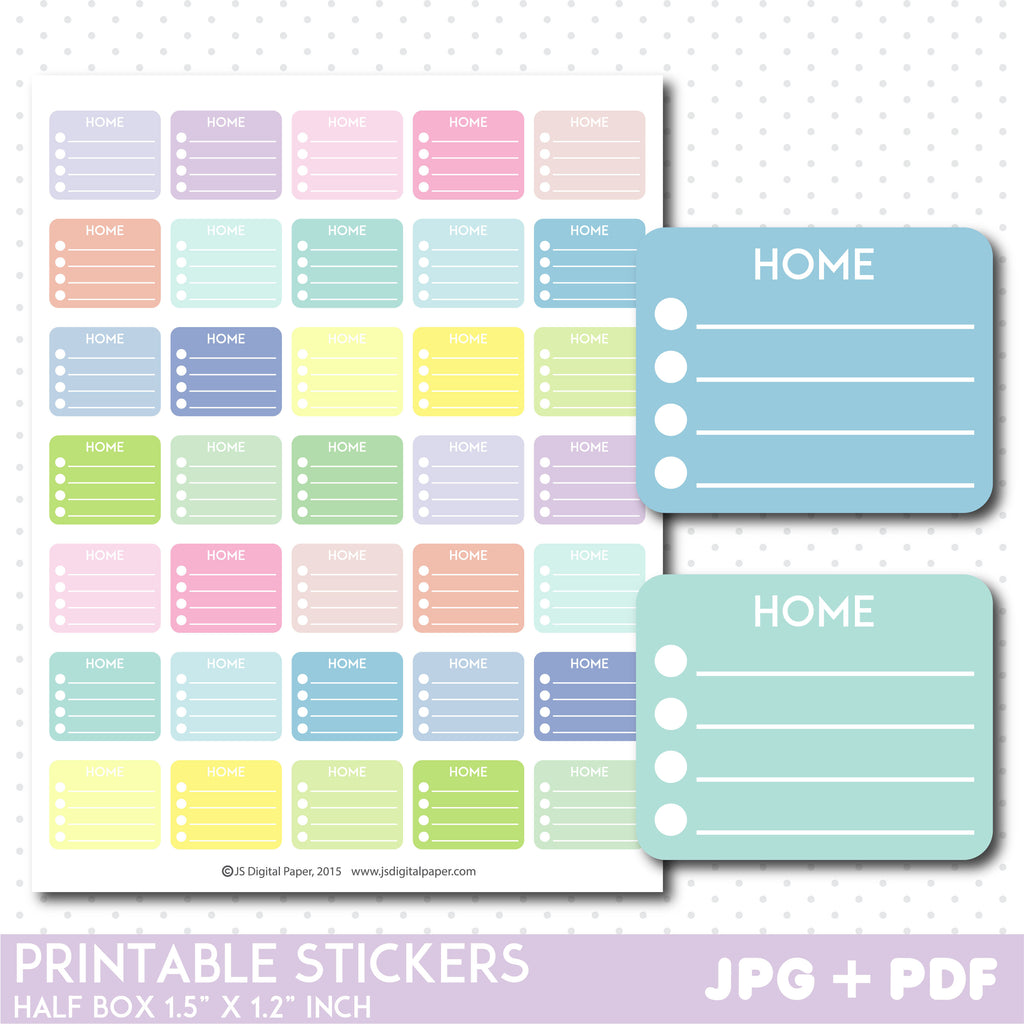 Home half box printable stickers, Pastel Home box stickers, STI-1149