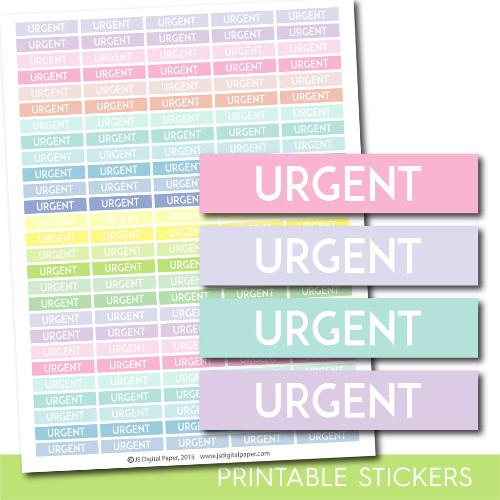 Urgent header stickers, Pastel Urgent stickers, Printable planner header stickers, STI-1184