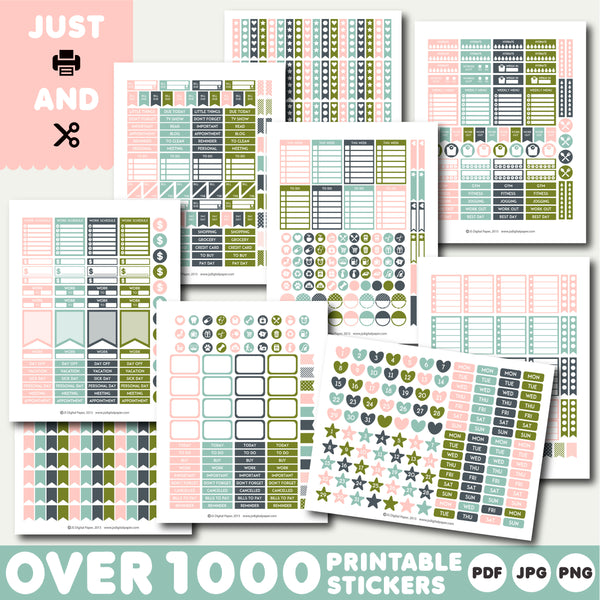 Green and pink printable planner stickers, STI-1265