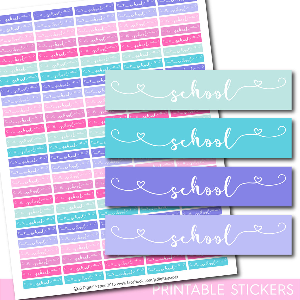 School printable planner stickers, STI-1277