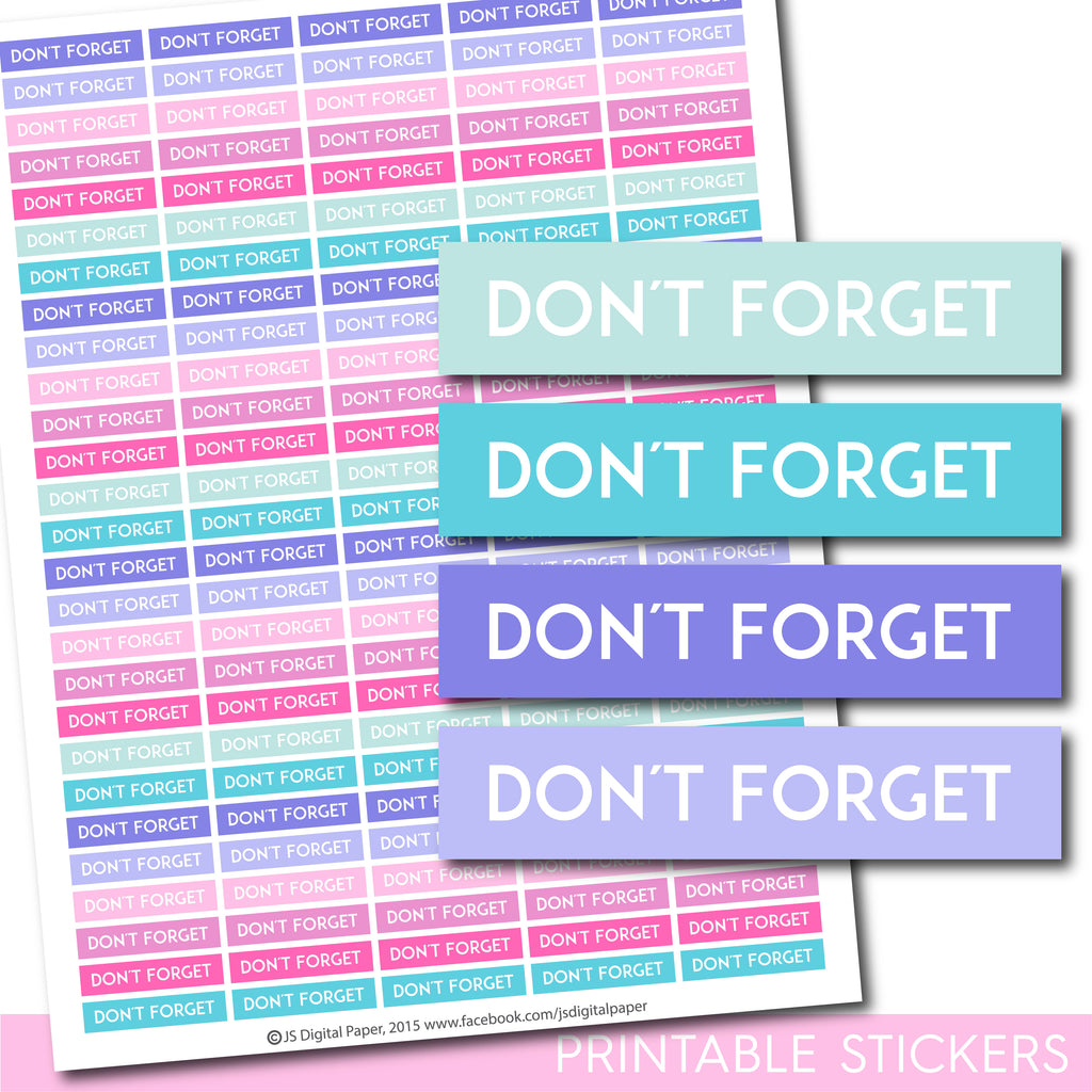 Don´t forget Erin Condren planner stickers, Don´t forget Happy Planner stickers, Don´t forget ECLP stickers, STI-1281