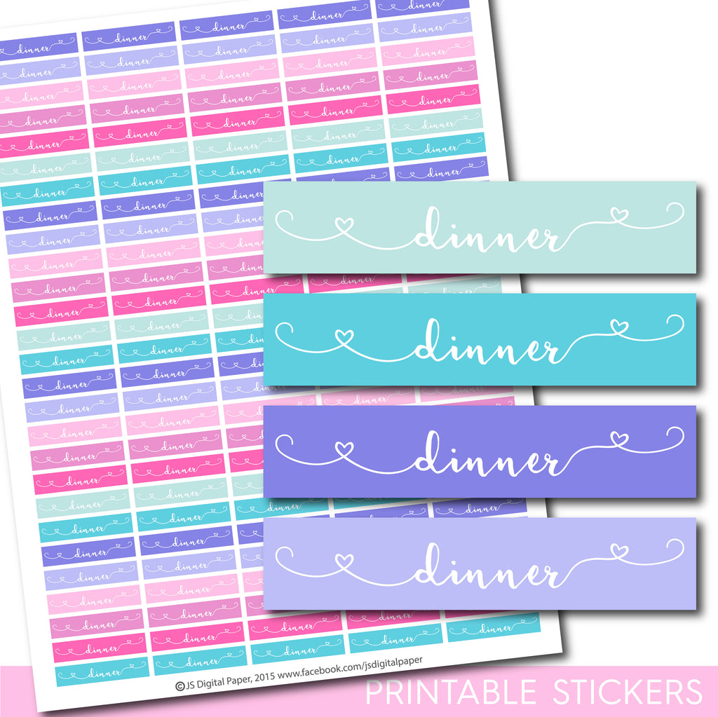 Dinner printable planner stickers, STI-1301