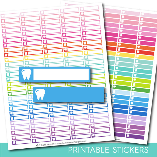 Tooth stickers, Tooth planner stickers, Tooth printable stickers, Dentist stickers, Teeth stickers, Tooth sticker, STI-160