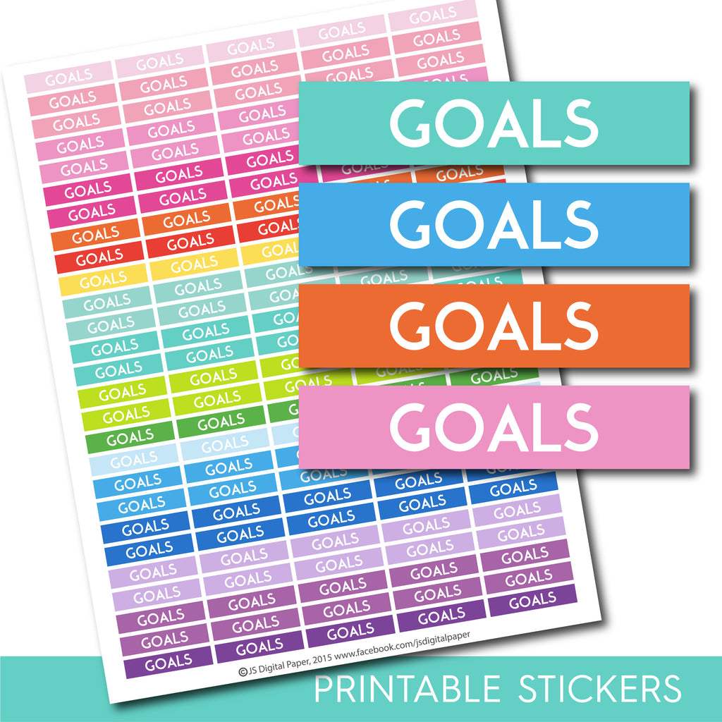 Goals header stickers, Goals planner stickers, Goals printable stickers, Goals stickers, Header stickers, Planner header stickers, STI-193