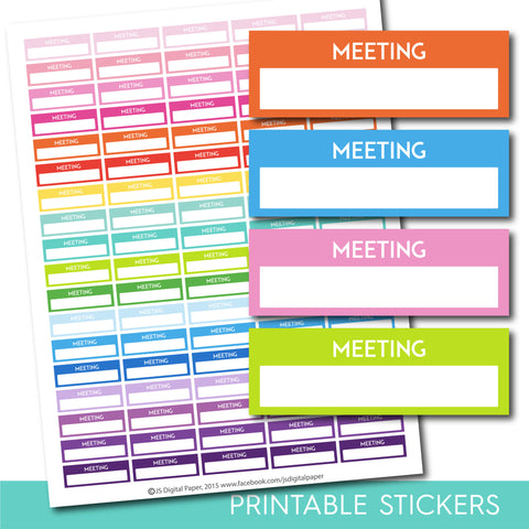 Meeting stickers, Meeting planner stickers, Printable meeting stickers, Meeting box stickers, Meeting Header stickers, Life planner, STI-198