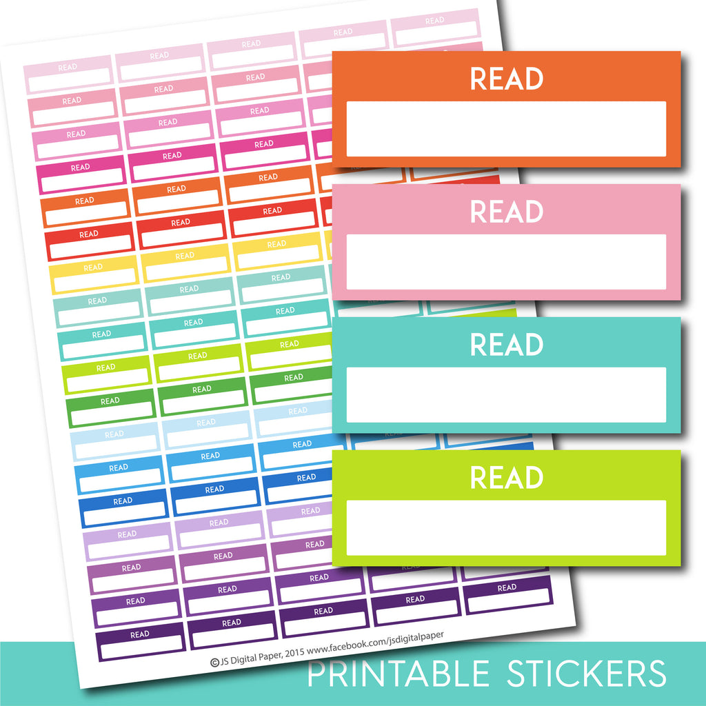 Read stickers, Read planner stickers, Printable read stickers, Read box stickers, Read Header stickers, Life planner, STI-199