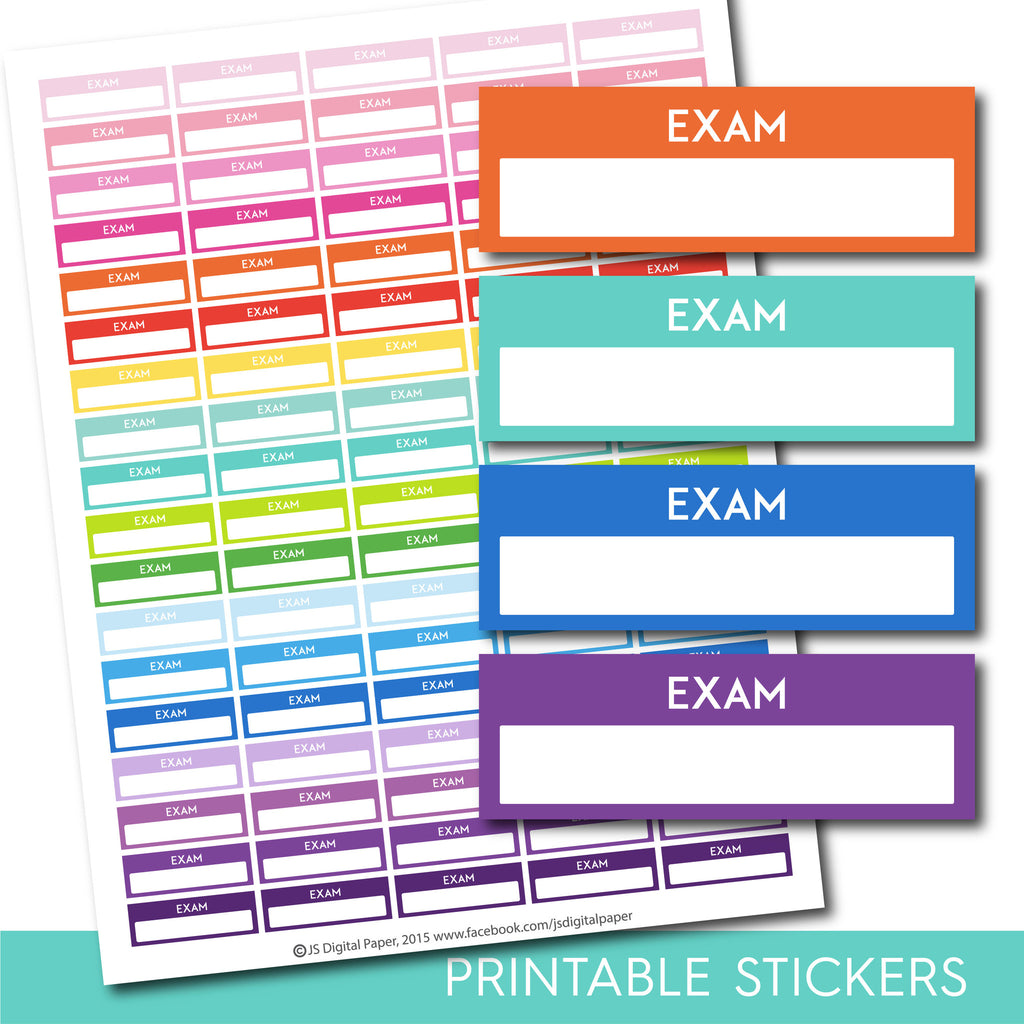Exam stickers, Exam planner stickers, Printable exam stickers, Exam box stickers, Exam Header stickers, Life planner stickers, STI-204