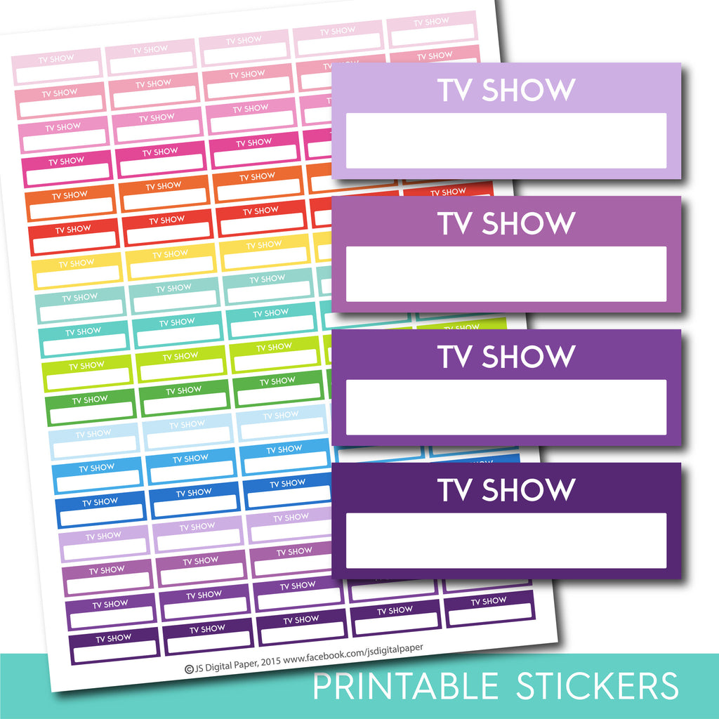 TV show stickers, Tv show planner stickers, Printable Tv show stickers, Tv show box stickers, Tv show Header stickers, Life planner, STI-209