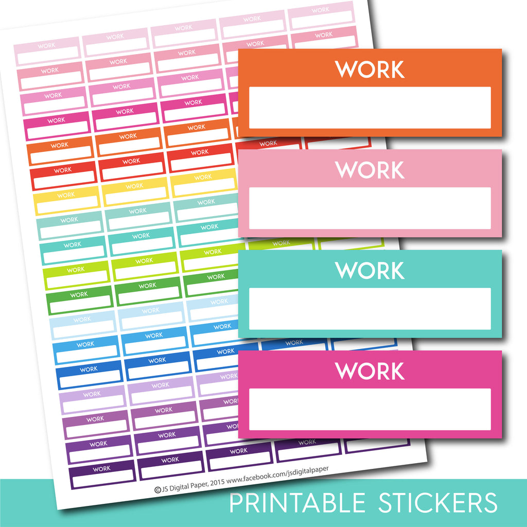 Work stickers, Work planner stickers, Printable work stickers, Work box stickers, Work Header stickers, Life planner stickers, STI-214