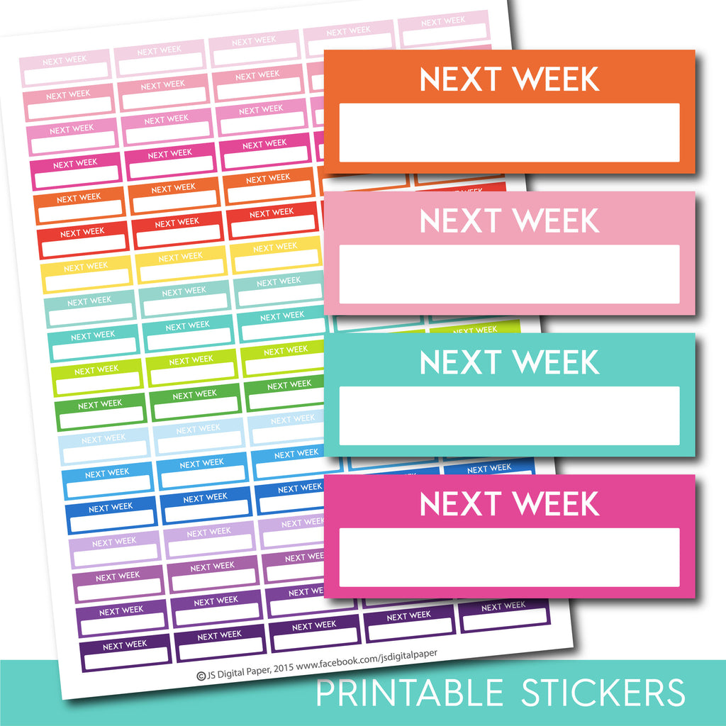 Next week stickers, Next week planner stickers, Printable next week stickers, Next week box stickers, Next week Header stickers, STI-218