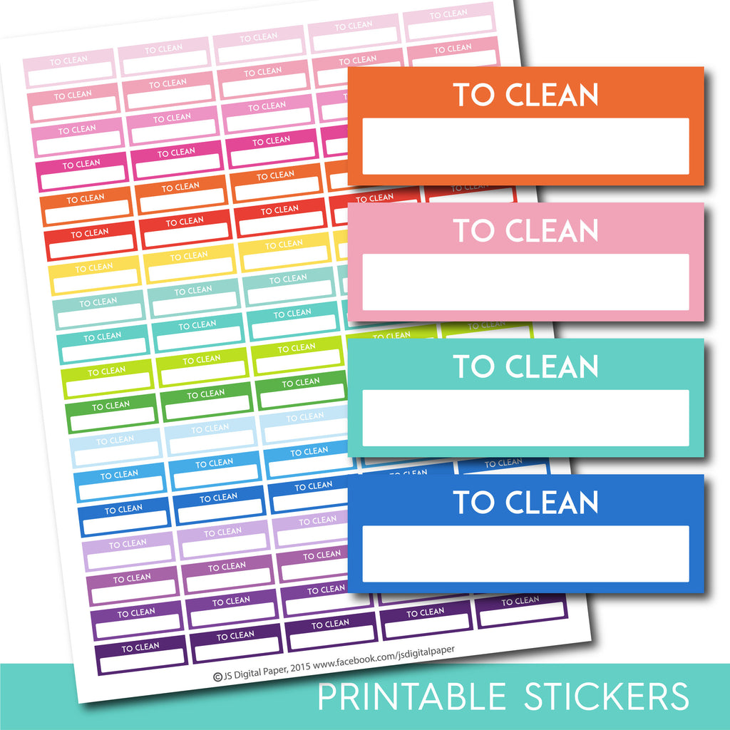 To Clean stickers, Clean planner stickers, Printable clean stickers, Clean box stickers, Clean Header stickers, Life planner, STI-223