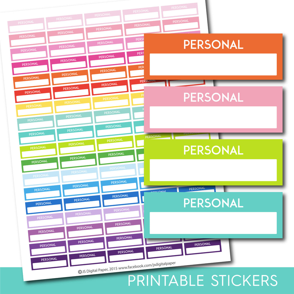 Personal stickers, Personal planner stickers, Printable personal stickers, Personal box stickers, Personal Header stickers, STI-227