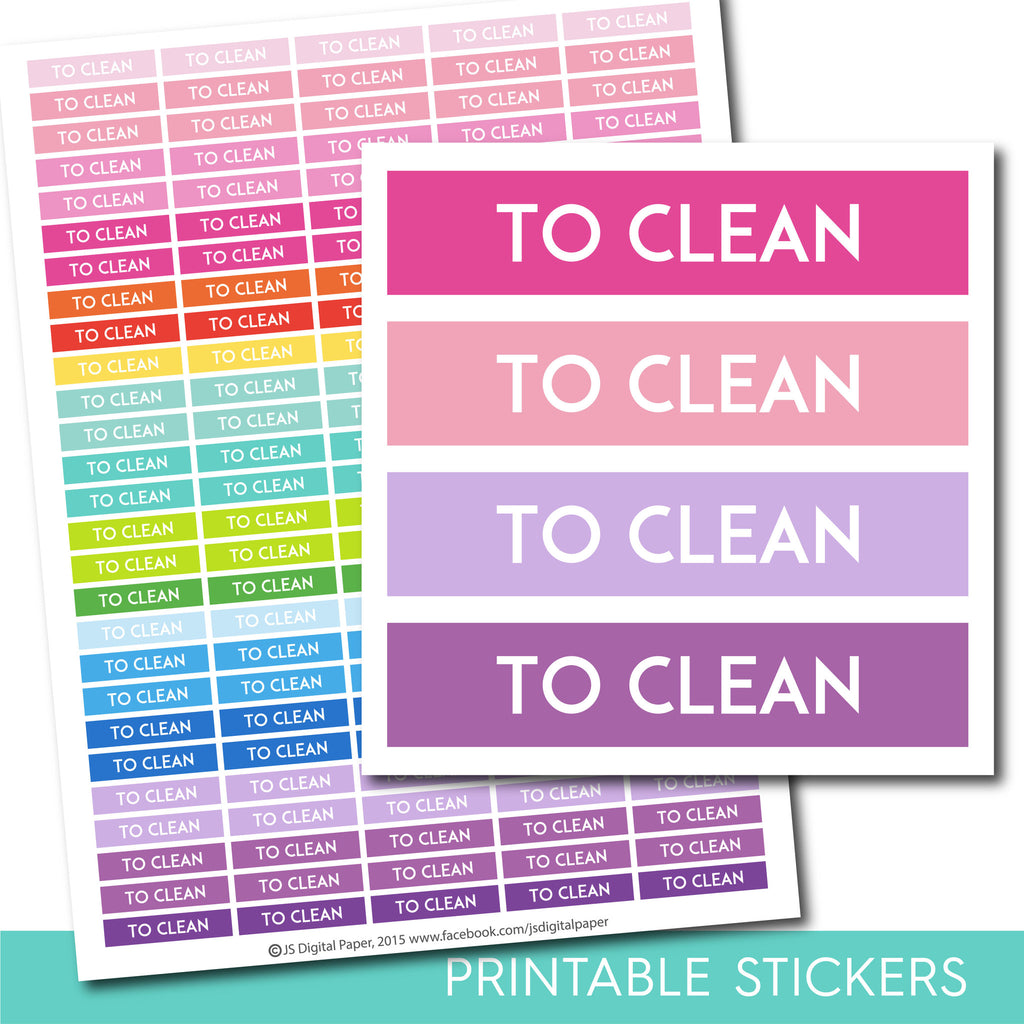 To clean stickers, To clean planner stickers, To clean printable stickers, Clean stickers, Housework stickers, Cleaning sticker, STI-233