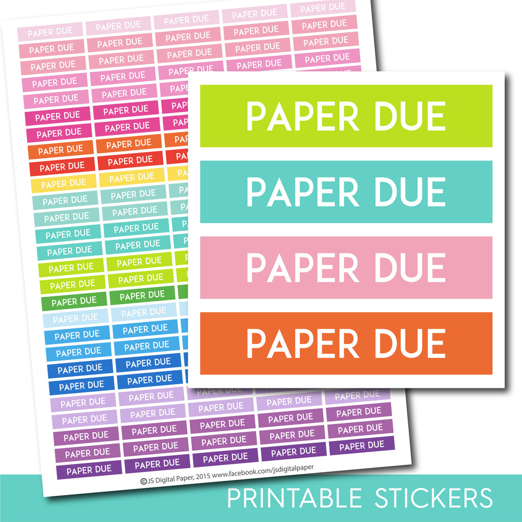 Paper due stickers, Paper due planner stickers, Paper due printable stickers, School stickers, Student sticker, Study stickers, STI-236